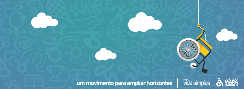"""Ilustração lúdica de um céu azul, com núvens e uma cadeira de rodas suspensa por um fio. Há os dizeres """"um movimento para ampliar horizontes"""", seguido dos logotipos da Revista Vida Simples e do Instituti Mara Gabrilli."""