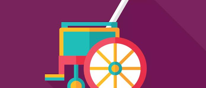 Em um fundo roxo, há a ilustração lúdica de uma cadeira de rodas, em verde, amarelo e rosa