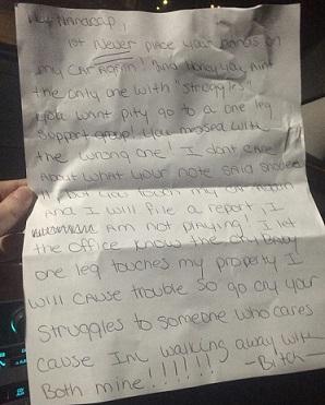 Foto da carta que Ashley recebeu