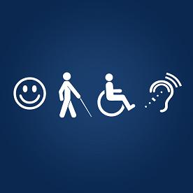 Foto com símbolos da acessibilidade em fundo azul
