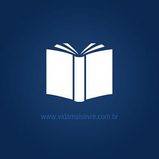 Foto de um livro branco em fundo azul