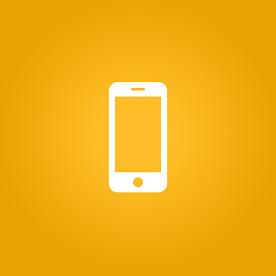 Foto de um símbolo de smartphone em fundo amarelo