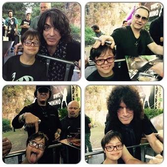 Montagem de quatro fotos de Gabriel com os integrantes da banda Kiss