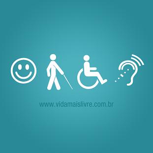 Foto de símbolos da acessibilidade em fundo verde