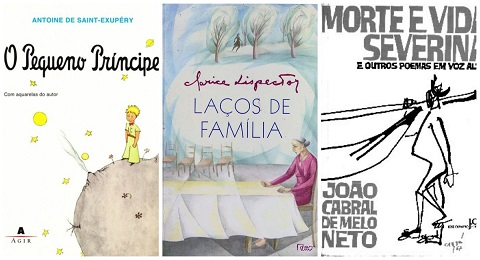 Foto de três capas de livros disponíveis no acervo