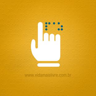 Foto de um símbolo e braille em fundo amarelo