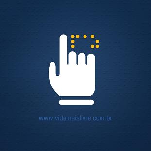 Foto de um símbolo em braille em fundo azul