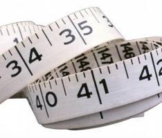 Foto de uma fita métrica em close
