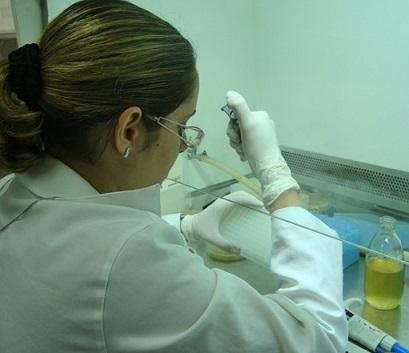Foto de Thalita no laboratório