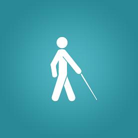 Ilustração de pessoa com deficiência visual em fundo azul