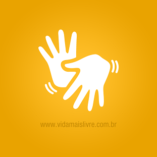 Foto de mãos fazendo libras em fundo amarelo