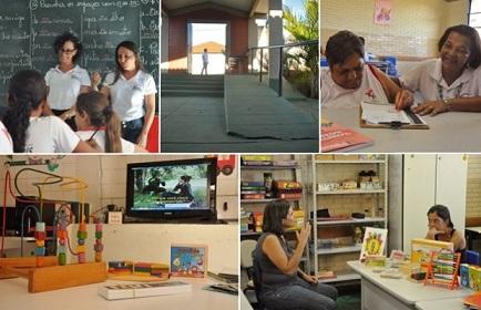Montagem com diversas fotos da escola de Avelinópolis