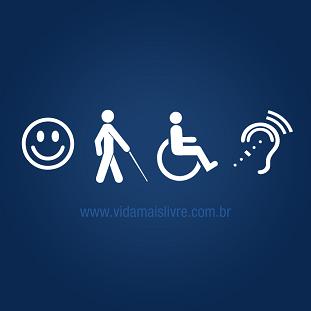 Foto de símbolos da acessibilidade em fundo azul