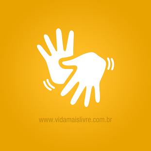 Ilustração de duas mãos interpretando Libras, em fundo amarelo