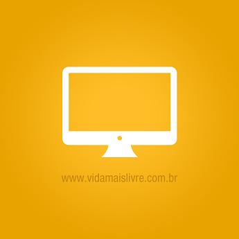 Ícone que representa um computador iMac, em fundo amarelo.