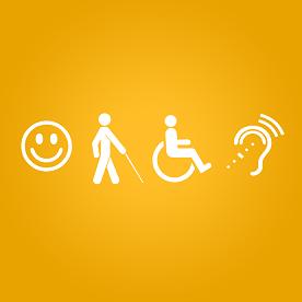 Símbolos das deficiências intelectual, visual, física e auditiva
