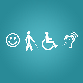 Símbolos da deficiência intelectual, visual, física e auditiva.
