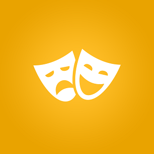 Ícone que representa o teatro, em fundo amarelo.