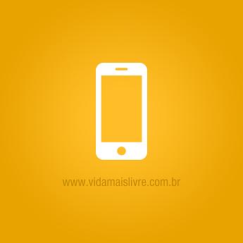 Ícone que representa um smartphone, em fundo amarelo.