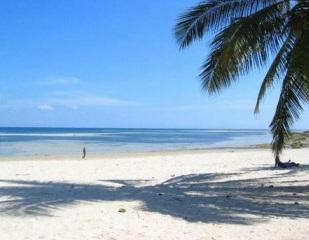Foto de praia deserta, com areia clara e céu ensolarado