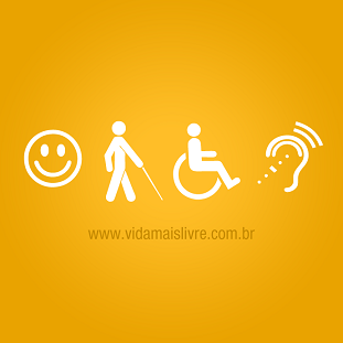 Símbolos de acessibilidade sobre fundo amarelo