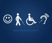 Ícones de deficiências sobre fundo azul