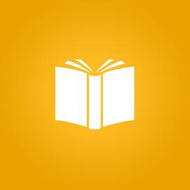 Ícone de livro aberto em fundo amarelo
