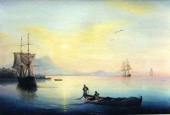 Quadro pintado pelo aluno Filipp Rissukhin mostra barcos no mar