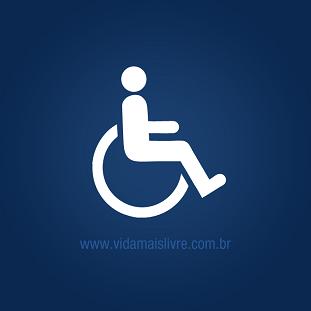Símbolo da deficiência física em fundo azul.