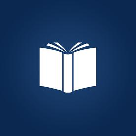 Ícone que representa um livro, em fundo azul.