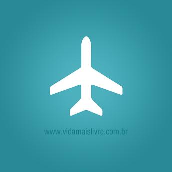 Ícone que representa uma avião, em fundo verde.
