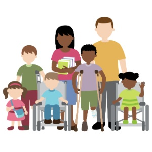Ilustração mostra alunos com e sem deficiência, e professores