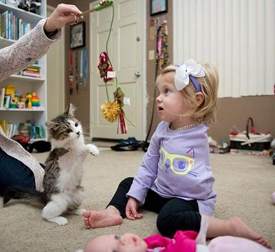 Scarlette e sua gatinha interagem com um brinquedo