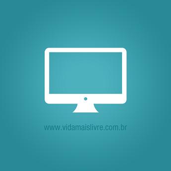 Ícone que representa uma tela de computador, em fundo verde.