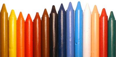 Gizes de cera coloridos dispostos lado a lado