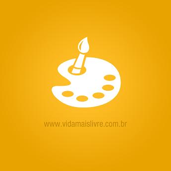 Ícone que representa uma aquarela, em fundo amarelo.