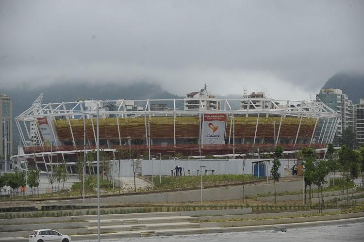 Foto da fachada do Centro Olímpico de Tênis, no Parque Olímpico do Rio de Janeiro