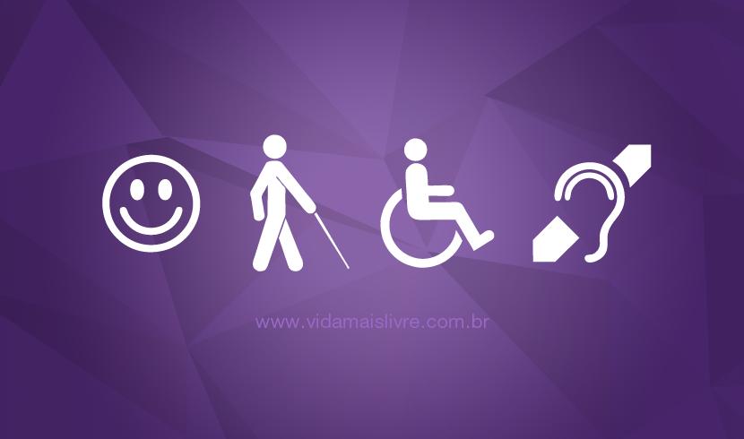 Símbolos da deficiência intelectual, visual, física e auditiva, em fundo roxo