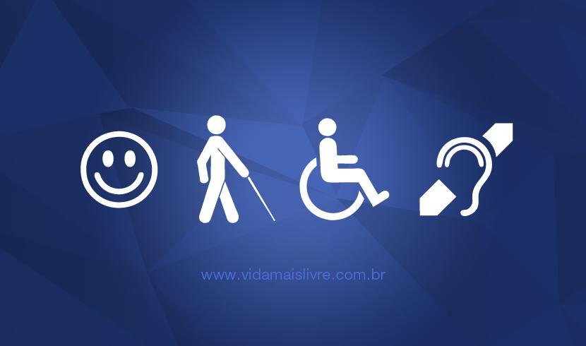 Símbolos da deficiência intelectual, visual, física e auditiva, em fundo azul.