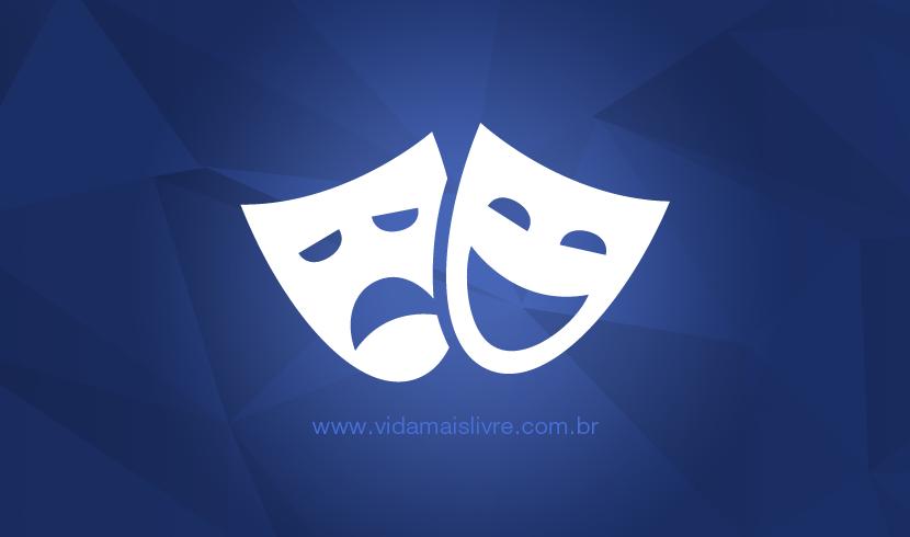 Ícone de duas máscaras, representando o teatro, em fundo azul.
