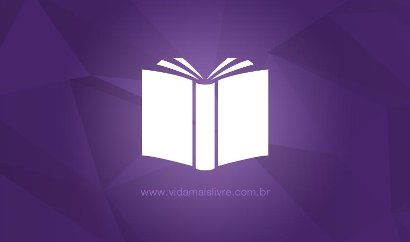 Ícone que representa um livro aberto, em fundo roxo.
