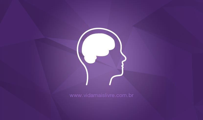 Ícone de uma silhueta humana com cérebro que representa a deficiência intelectual, em fundo roxo