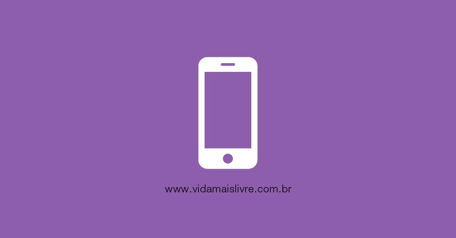 Em fundo roxo, ícone que representa um smartphone