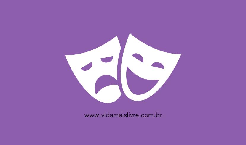 Em fundo roxo, há o ícone que representa o teatro, com as máscaras do drama e da comédia