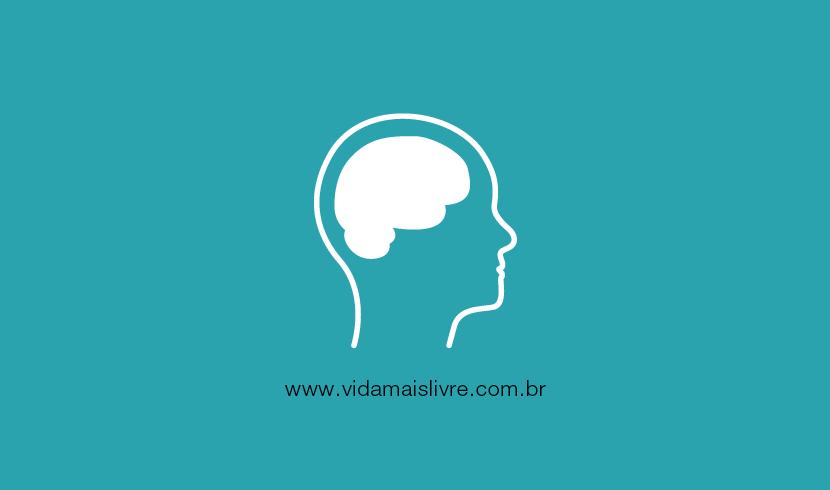 Em fundo verde, ícone de uma silhueta humana com o cérebro desenhado, representando a deficiência intelectual