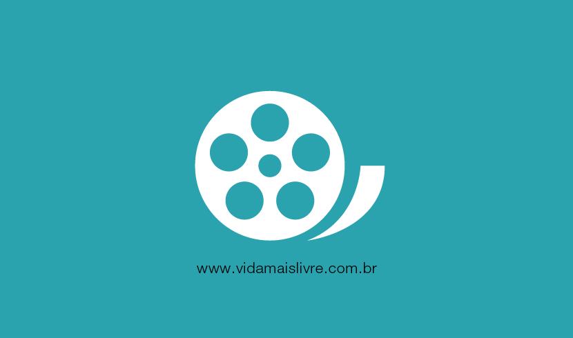 Em fundo verde, há um ícone branco que representa um rolo de filme