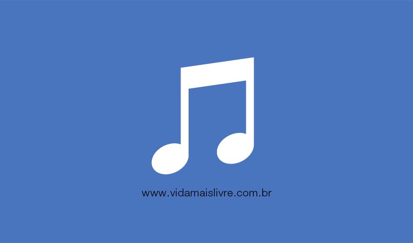 Ícone que representa uma nota musical, em um fundo azul