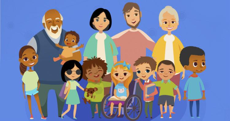 Ilustração lúdica com adultos e crianças, de diversas etnias e idades. Ao centro, há uma garota cadeirante e, do lado direito, uma menina cega