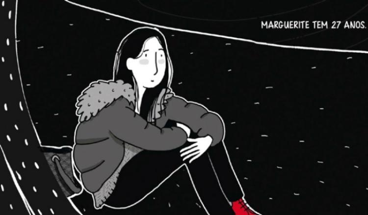 Ilustração lúdica em preto, branco e vermelho de uma garota sentada abraçando as pernas. Em texto: Marguerite tem 27 anos