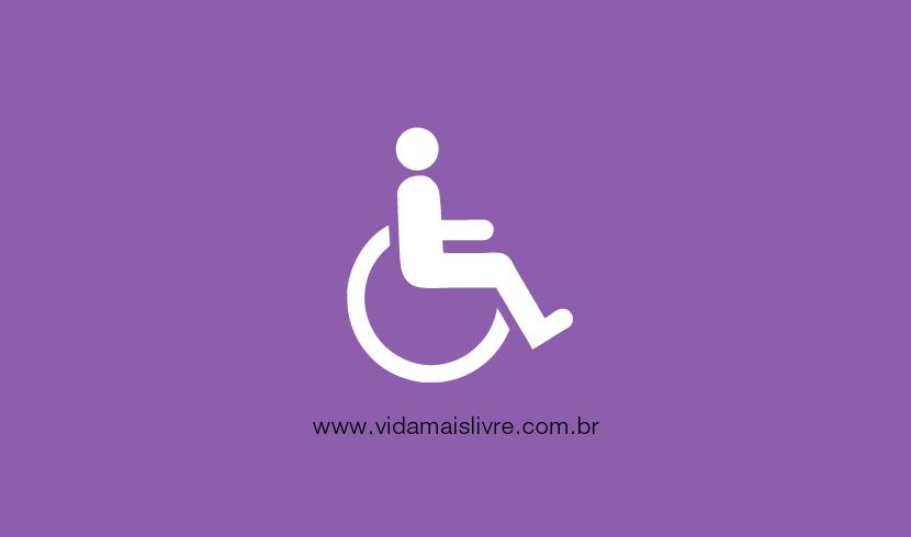 Símbolo da deficiência física, em fundo roxo